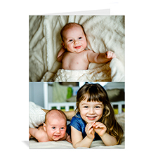 Classic Two Photo Collage Baby Card, Portrait
