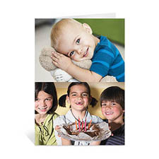 Classic Two Photo Collage Birthday Card, Portrait