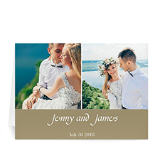 Two Collage Wedding Photo Cards, 5x7 Simple Biege
