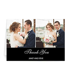Two Collage Wedding Photo Cards, 5x7 Simple Black