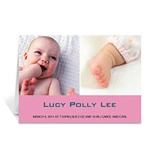 Two Collage Baby Photo Cards, 5x7 Simple Pink