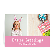 Two Collage Easter Photo Cards, 5x7 Simple Pink