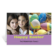Two Collage Easter Photo Cards, 5x7 Simple Purple