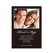 Black Wedding Announcement, 5x7 Stationery Card