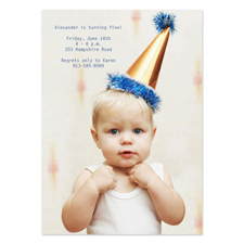 Full Photo Birthday Invitations, 5x7 Portrait Stationery Card