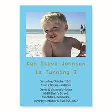 Baby Blue Birthday Invitations, 5x7 Stationery Card
