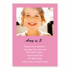 Baby Pink Birthday Invitations, 5x7 Stationery Card