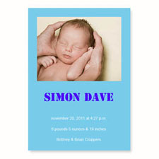 Baby Blue Birth Announcements, 5x7 Stationery Card