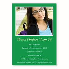 Green Birthday Invitations, 5x7 Stationery Card