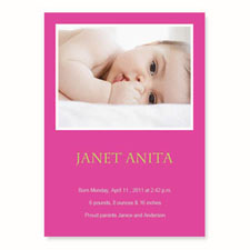 Hot Pink Birth Announcements, 5x7 Stationery Card
