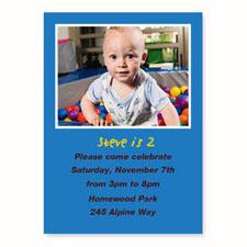 Blue Birthday Invitations, 5x7 Stationery Card