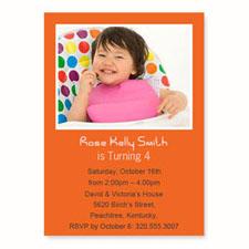 Orange Birthday Invitations, 5x7 Stationery Card