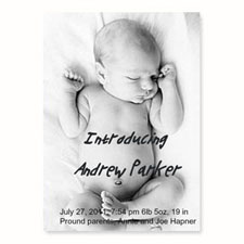 Full Photo Birth Announcements, 5x7 Portrait Stationery Card
