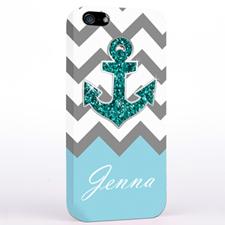 Glitter Turquoise Anchor Grey Chevron