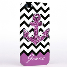 Glitter Purple Anchor Black Chevron