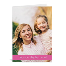 Personalized Mothers Day Greeting Cards, 5x7 Folded Pink