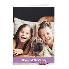 Personalized Mothers Day Greeting Cards, 5x7 Folded Classic Purple