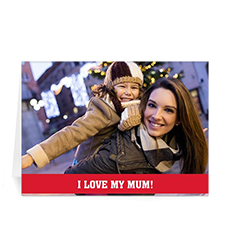 Personalized Mothers Day Photo Greeting Cards, 5x7 Folded Red
