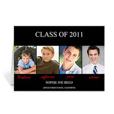 Four Collage Graduation Announcement, Elegant Black