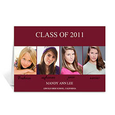 Four Collage Graduation Announcement, Elegant Red