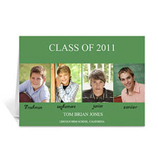 Four Collage Graduation Announcement, Elegant Green