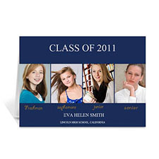 Four Collage Graduation Announcement, Elegant Blue