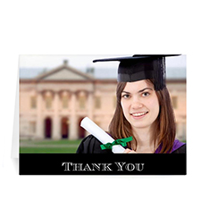 Graduation Thank You Card, Stylish Black