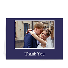 Classic American Blue Photo Wedding Cards, 5x7 Folded