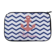 Personalized Neoprene Navy Chevron Carol Anchor Cosmetic Bag (6 X 10 Inch)