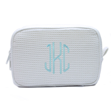 Embroidered Three Initial White Cotton Waffle Weave Makeup Bag (5 X 8 Inch)