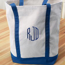Personalized Medium Embroidered Tote Bag, Navy Bag
