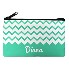 Aqua Chevron Personalized Cosmetic Bag