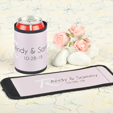 Pink Wedding Personalized Can And Bottle Wrap