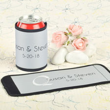 Silver Wedding Personalized Can And Bottle Wrap