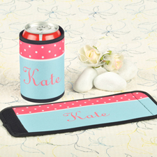 Carol Aqua Polka Dot Personalized Can And Bottle Wrap