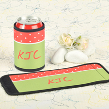 Red Lime Polka Dot Personalized Can And Bottle Wrap