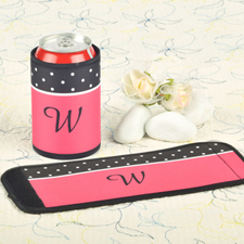 Black Pink Polka Dot Personalized Can And Bottle Wrap