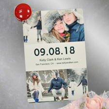 White Collage Personalized Save The Date Photo Magnet, 4x6 Large