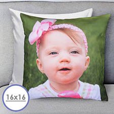 16 X 16 Photo Gallery Custom Pillow (White Back) Cushion (No Insert)