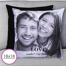 18 X 18 Photo Gallery Personalized Pillow (Black Back) Cushion (No Insert)