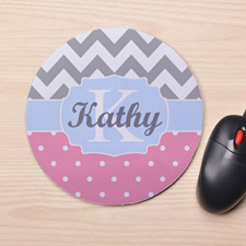 Custom Printed Dots And Chevron Design Mouse Pad