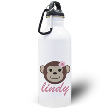 Personalized Photo Monkey Girl Water Bottle