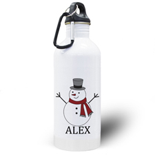 Personalized Photo Snowman Water Bottle