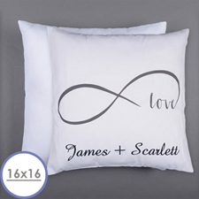 Infinity Love Personalized Pillow 16 Inch  Cushion (No Insert)