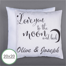 Love You To The Moon Personalized Pillow 20 Inch  Cushion (No Insert)