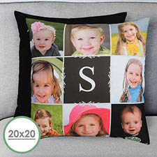 Monogram Collage Black Personalized Pillow 20x20 (NO INSERT)(NO INSERT)