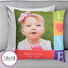 Colorful Love Personalized Large Cushion 18
