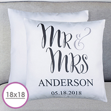 Mr. And Mrs. Personalized Large Cushion 18
