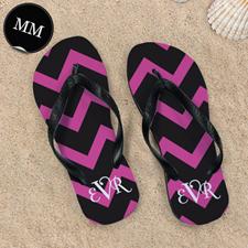 Black Pink Chevron Personalized Flip Flops, Men Medium