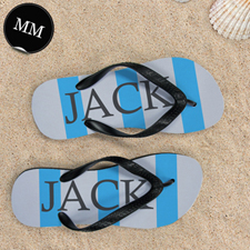 Blue Grey Stripe Personalized Flip Flops, Men Medium